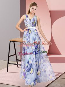 Delicate Multi-color Dress for Prom Prom and Party with Pattern V-neck Sleeveless Zipper