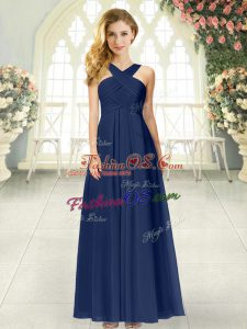 Pretty Navy Blue Empire Chiffon Straps Sleeveless Ruching Floor Length Zipper Prom Evening Gown
