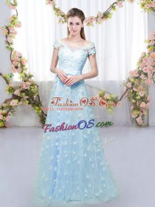 Sweet Blue Cap Sleeves Appliques Floor Length Quinceanera Court of Honor Dress
