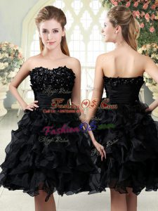 Sophisticated Sleeveless Organza Mini Length Side Zipper Prom Evening Gown in Black with Beading and Appliques and Ruffles