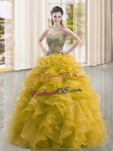 Elegant Gold Lace Up Sweetheart Beading and Ruffles 15 Quinceanera Dress Organza Sleeveless