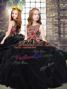Black Scoop Zipper Embroidery and Ruffles Little Girl Pageant Gowns Sweep Train Sleeveless