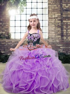 Tulle Straps Sleeveless Lace Up Embroidery and Ruffles Little Girls Pageant Gowns in Lavender