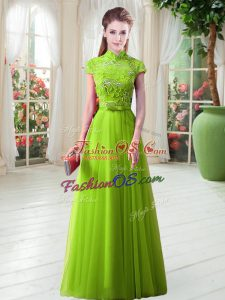Gorgeous Cap Sleeves Tulle Floor Length Lace Up Evening Dress in with Appliques