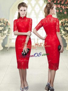 Fitting Red Column/Sheath Beading and Lace Prom Gown Zipper Half Sleeves Tea Length
