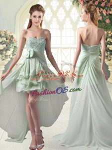 Glamorous Chiffon Sweetheart Sleeveless Zipper Beading and Ruffled Layers Prom Party Dress in Apple Green