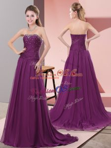 Sweep Train A-line Prom Gown Purple Strapless Chiffon Sleeveless Zipper