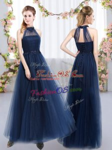 Sumptuous Appliques Bridesmaid Gown Navy Blue Lace Up Sleeveless Floor Length