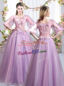 High Quality Lavender Scoop Neckline Appliques Quinceanera Court of Honor Dress Half Sleeves Zipper
