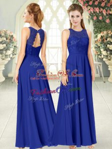 Floor Length Royal Blue Womens Party Dresses Scoop Sleeveless Backless