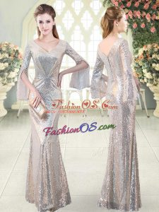 Most Popular V-neck Long Sleeves Prom Dresses Floor Length Ruching Silver Sequined