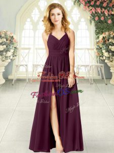 Comfortable Sleeveless Chiffon Floor Length Zipper Prom Dresses in Burgundy with Ruching