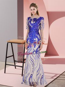 Customized Royal Blue Half Sleeves Zipper Dress for Prom for Prom and Party