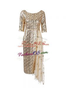 Sequined Scoop Half Sleeves Zipper Belt Prom Dresses in Gold