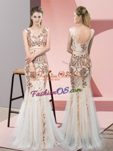 Sleeveless Tulle Floor Length Backless Homecoming Dress in Champagne with Sequins