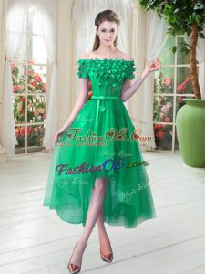 Customized Tulle Short Sleeves High Low Homecoming Dress and Appliques