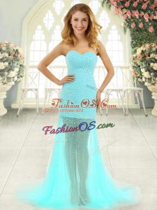Aqua Blue Column/Sheath Beading Homecoming Dress Zipper Tulle Sleeveless