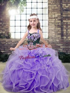Lavender Straps Lace Up Embroidery and Ruffles Little Girls Pageant Gowns Sleeveless
