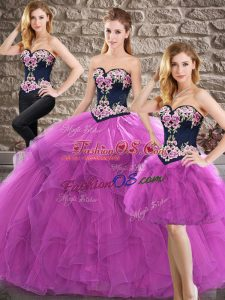 Low Price Purple Sleeveless Tulle Lace Up Quinceanera Dress for Sweet 16 and Quinceanera