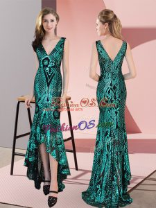 Elegant High Low Zipper Prom Dress Green for Prom and Party with Ruching