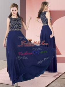 Scoop Sleeveless Evening Dress Floor Length Beading Navy Blue Chiffon