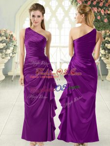 Best One Shoulder Sleeveless Taffeta Prom Dress Ruffles Side Zipper