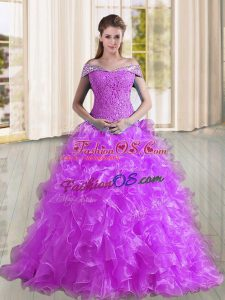 Discount Purple Off The Shoulder Lace Up Beading and Lace and Ruffles 15 Quinceanera Dress Sweep Train Sleeveless