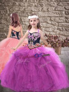 Purple Ball Gowns Embroidery and Ruffles Kids Formal Wear Lace Up Tulle Sleeveless Floor Length