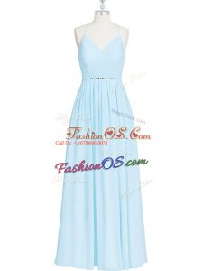 Ruching and Pleated Prom Dresses Light Blue Zipper Sleeveless Floor Length