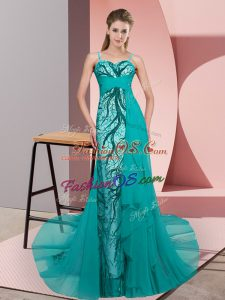 Edgy Tulle Spaghetti Straps Sleeveless Sweep Train Zipper Beading and Lace Prom Dress in Teal
