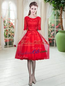 Inexpensive Half Sleeves Knee Length Lace Lace Up Prom Party Dress with Red