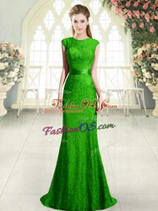 Green Homecoming Dress Scoop Cap Sleeves Sweep Train Backless