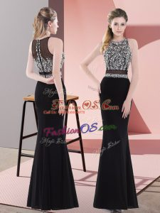 Black Party Dress for Girls Prom and Party and Military Ball with Beading Scoop Sleeveless Zipper