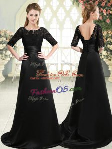Smart Black Scalloped Neckline Beading and Appliques Prom Evening Gown Half Sleeves Lace Up
