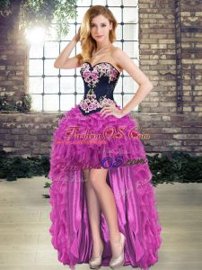 Stylish Organza Sleeveless High Low Evening Dress and Embroidery