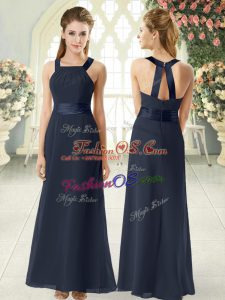Square Sleeveless Floor Length Ruching Black Chiffon