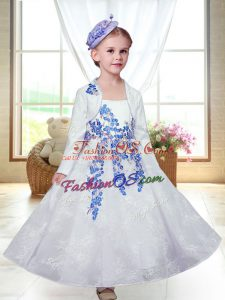 Graceful White Zipper Flower Girl Dresses Embroidery Sleeveless Ankle Length