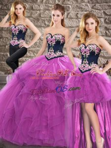 Suitable Purple Sleeveless Floor Length Beading and Embroidery Lace Up Quinceanera Gowns