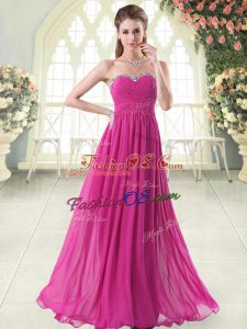 Beautiful Floor Length Fuchsia Prom Gown Sweetheart Sleeveless Zipper