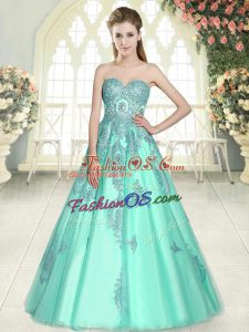 Stylish Sweetheart Sleeveless Lace Up Apple Green Tulle