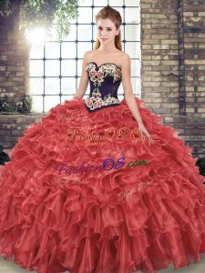 High Quality Sweetheart Sleeveless Organza Quinceanera Dresses Embroidery and Ruffles Sweep Train Lace Up
