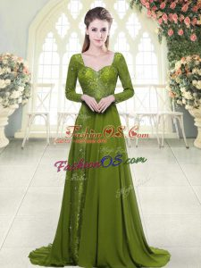 Olive Green Chiffon Backless Sweetheart Long Sleeves Prom Party Dress Sweep Train Beading