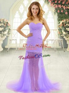 Lavender Zipper Beading Sleeveless Brush Train