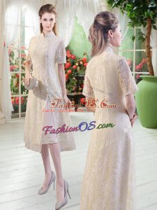 Top Selling Tea Length Side Zipper Champagne for Prom and Party with Lace