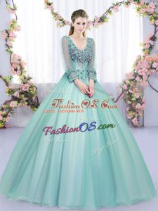 Customized Apple Green Long Sleeves Tulle Lace Up Sweet 16 Quinceanera Dress for Military Ball and Sweet 16 and Quinceanera