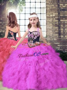 Fuchsia Tulle Lace Up Girls Pageant Dresses Sleeveless Floor Length Embroidery and Ruffles