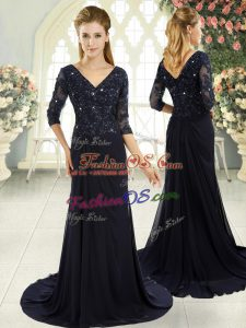 Chiffon V-neck Half Sleeves Sweep Train Zipper Beading and Lace and Appliques Prom Gown in Navy Blue