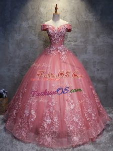 Ideal Floor Length Watermelon Red Sweet 16 Dress Off The Shoulder Sleeveless Lace Up