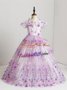 Latest V-neck Short Sleeves Tulle Child Pageant Dress Hand Made Flower Zipper