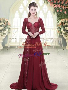 High Class Sweetheart Long Sleeves Evening Dress Brush Train Beading and Appliques Burgundy Chiffon